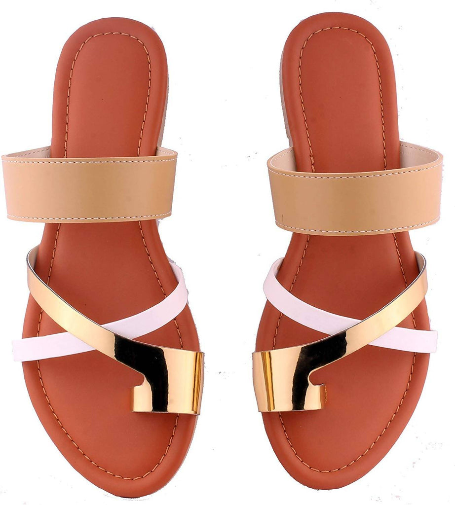 Foot wagon Gold White Brown Beige Strap |Flats | Ladies Slippers |Girls Slippers