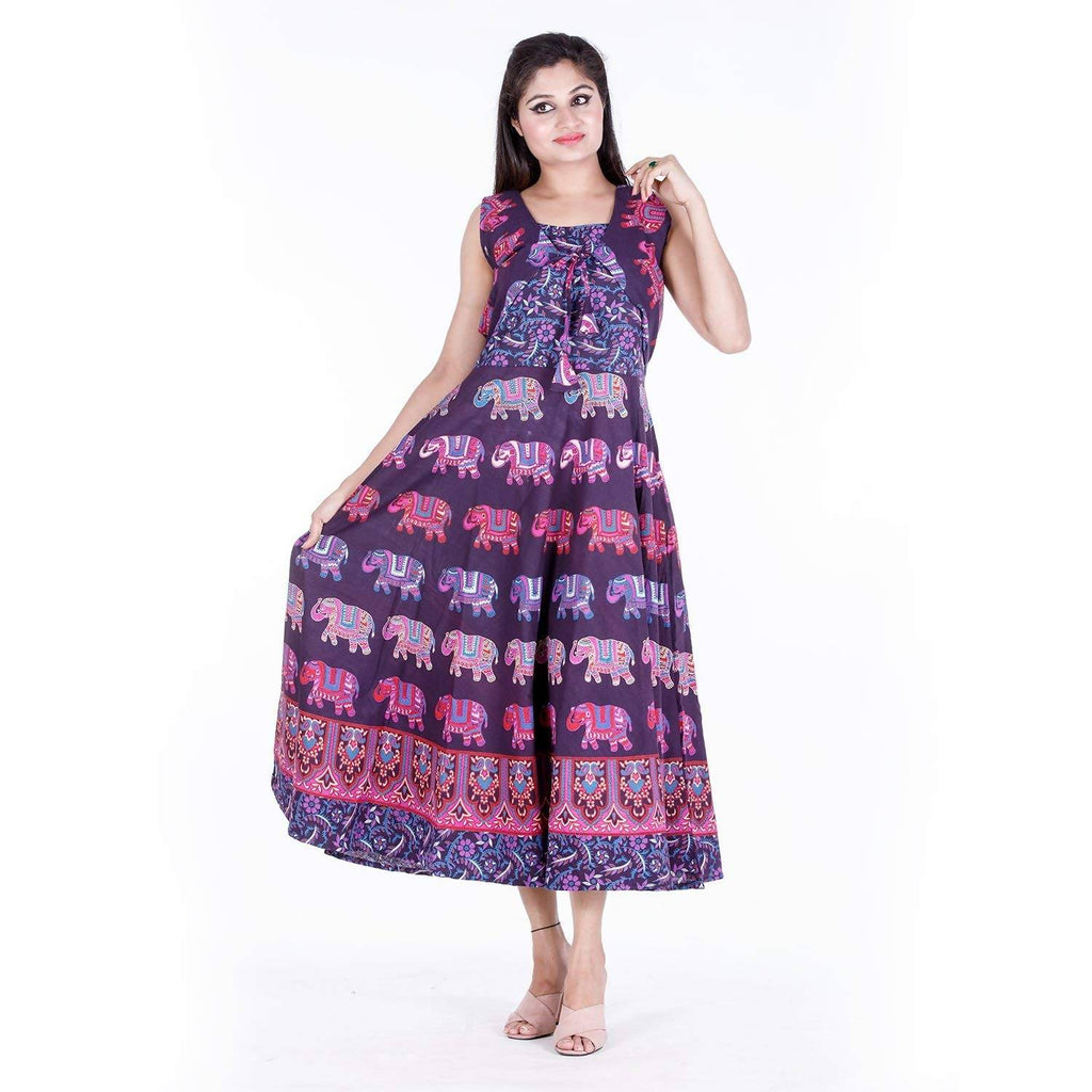 DHRUVI Party Free Size Elephant Print Long Cotton Maxi Dress for Women (with Front Jacket, up to XXL Size)