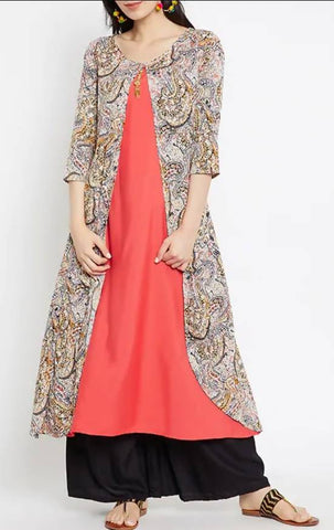 Triyaa Layered Kurta With Tassels