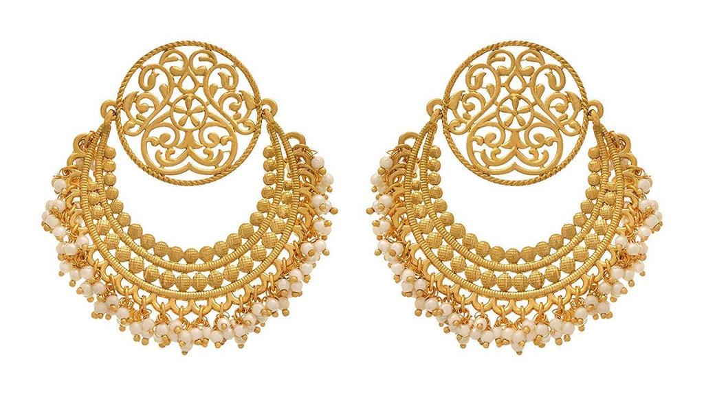JFL - Traditional Ethnic One Gram Gold Plated Chandbali Earring for Girls and Women.