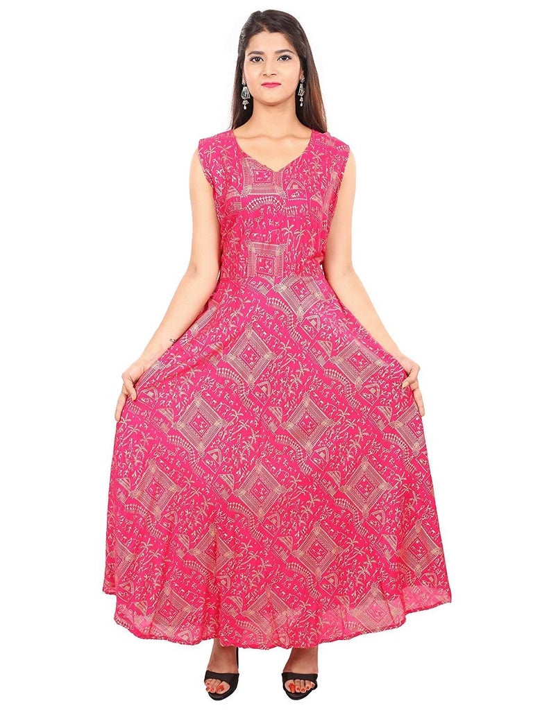 Dhruvi Party Wear Women's Jaipuri Print Rayon Gold Print in Elegant Print in Free Size (Pink, up to S-XXL)