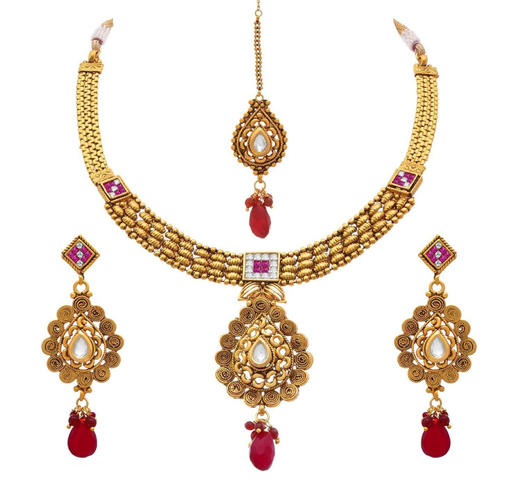 JFL - Traditional & Ethnic One Gram Gold Plated Cz American Diamond, Kundan Designer Necklace Set with Earring & Maang Tikka for Women & Girls.