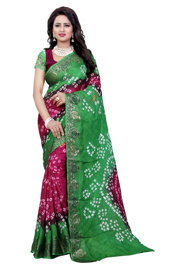 HARSHITA CREATION ART SILK RAANI & GREEN HAND WOWEN BANDHANI SAREE