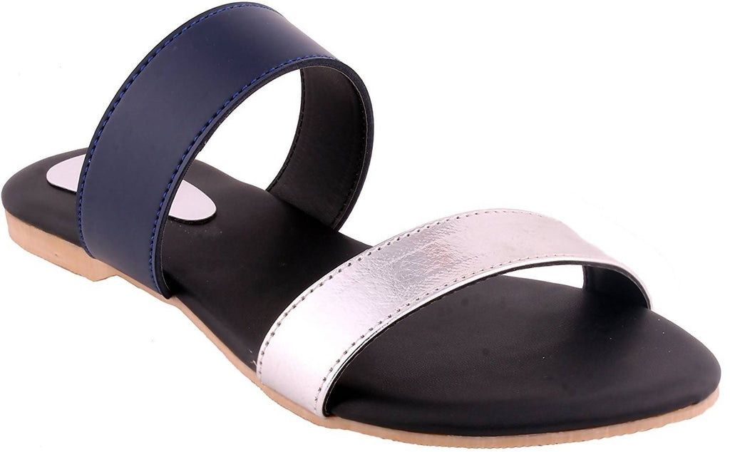 Ladies Sandal |Black Sandal | Black |Women Flats | Ladies Slippers |Girls Slippers | Blue | Silver |Flats |03/36