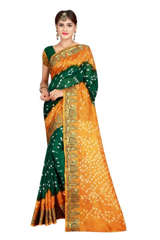 HARSHITA CREATION ART SILK GREEN & ORANGE HAND WOWEN BANDHANI SAREE