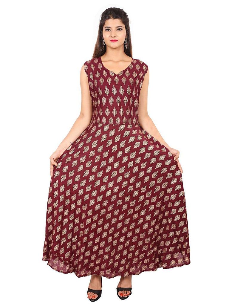 Dhruvi Party Wear Women's Jaipuri Print Rayon Gold Print Long Maxi Dress in Elegant Print in Free Size (Maroon, up to S-XXL)