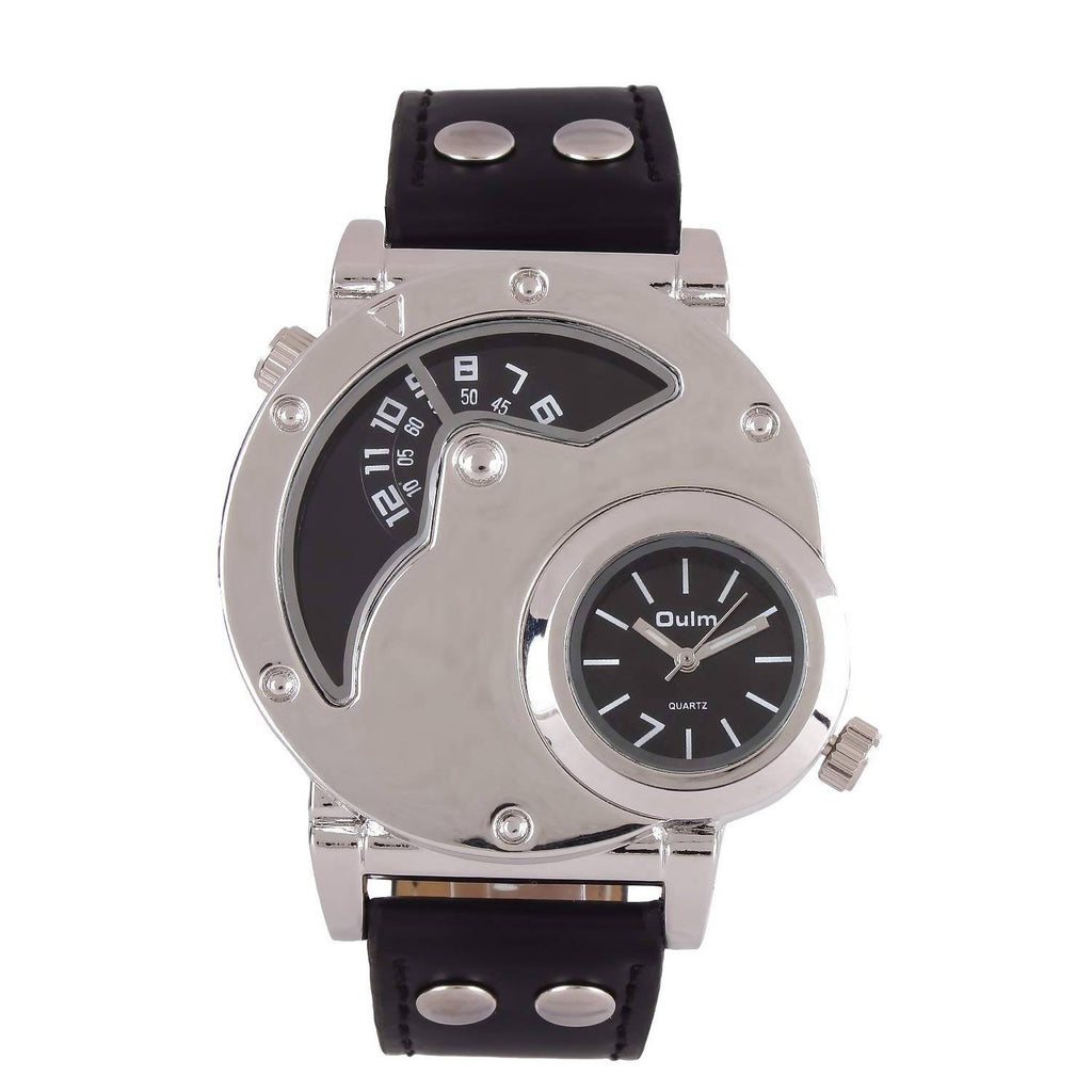 Oulm HP9591WBL Multifunction Black Dial Leather Strap Wrist Watch / Casual Watch - For Men's
