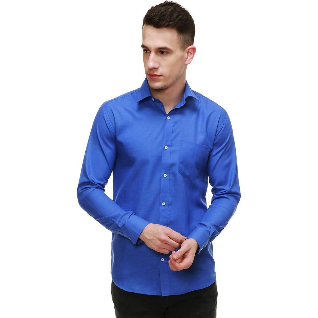NIMEGH ROYAL BLUE COLORED COTTON CASUAL SOLID SHIRT FOR MEN'S