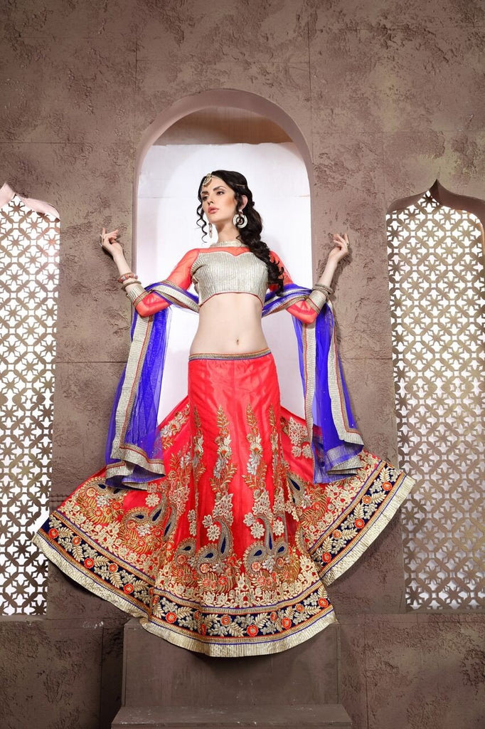 Aasvaa Tremendous Women's Embroidered Net Lehenga Choli With Un-Stitched Blouse (NMRLA3402_Pink_Free Size)