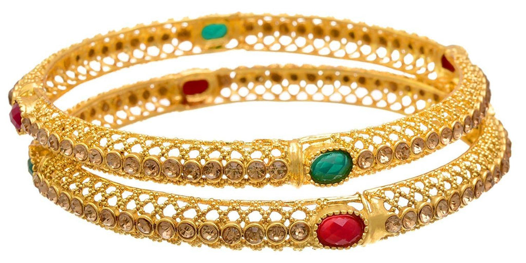 JFL - Traditional & Ethnic One Gram Gold Plated Red Green Stone Bangle Set with LCD/Champagne Color Austrian Diamonds for Girls and Women