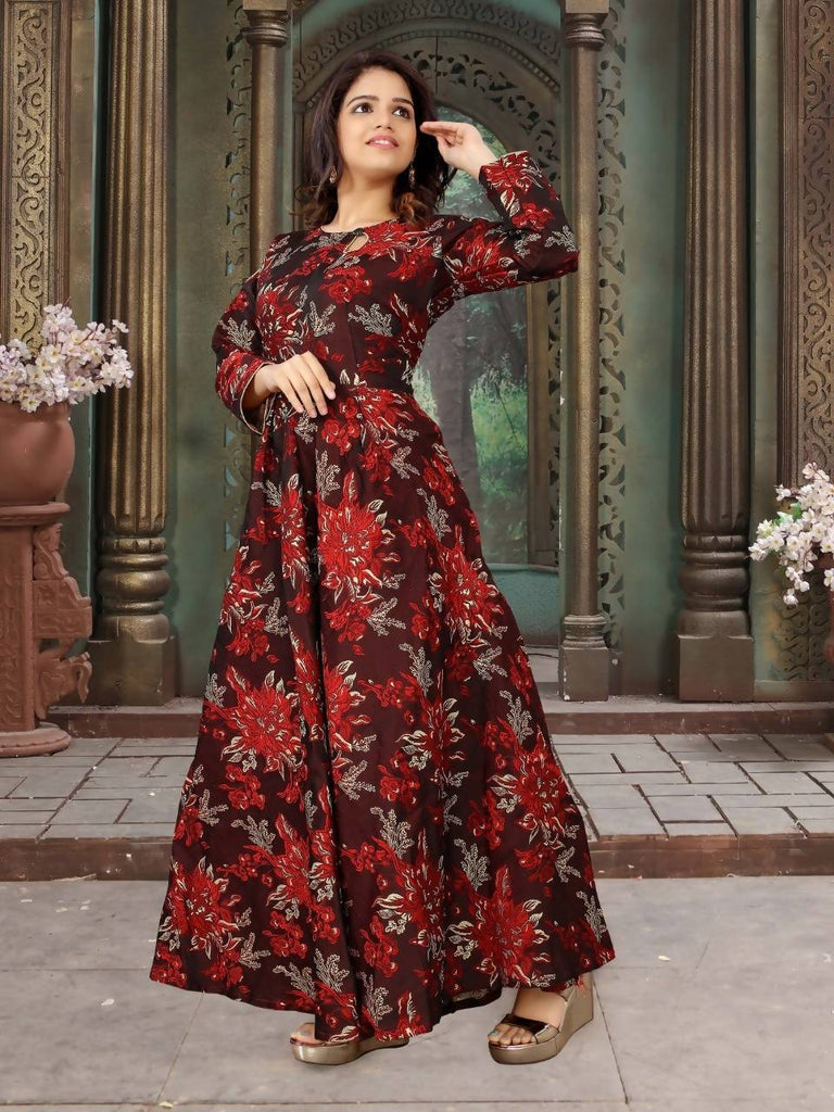 HARSHITA CREATION RED JACQUARD FULLY STICHED GOWN