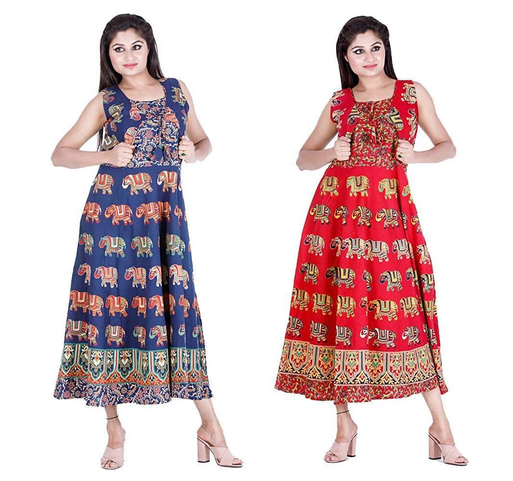 Dhruvi Combo Pack Printed Jaipuri Cotton Long Maxi Dress Cum Flared Long Kurti with Attached Jacket and Sleeves (Free Size, Size-S-XXL)