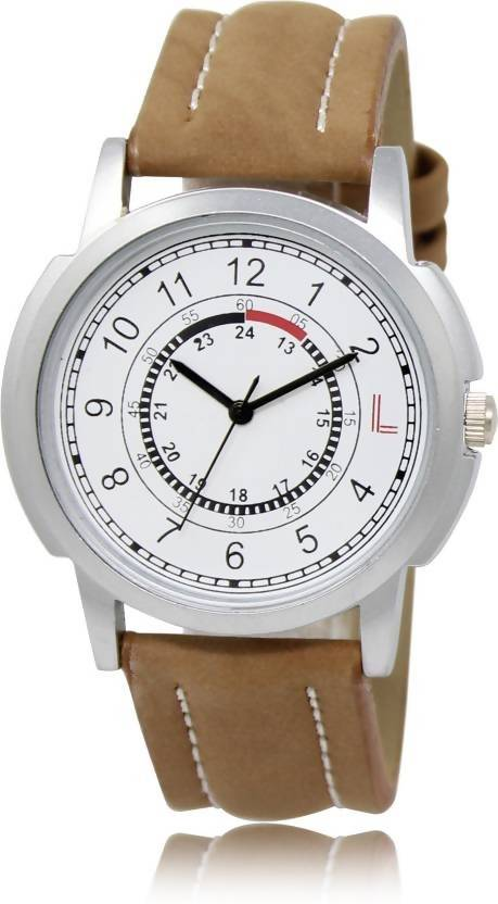 LOREM LR17 White-Brown Round Leather Watch - For Men