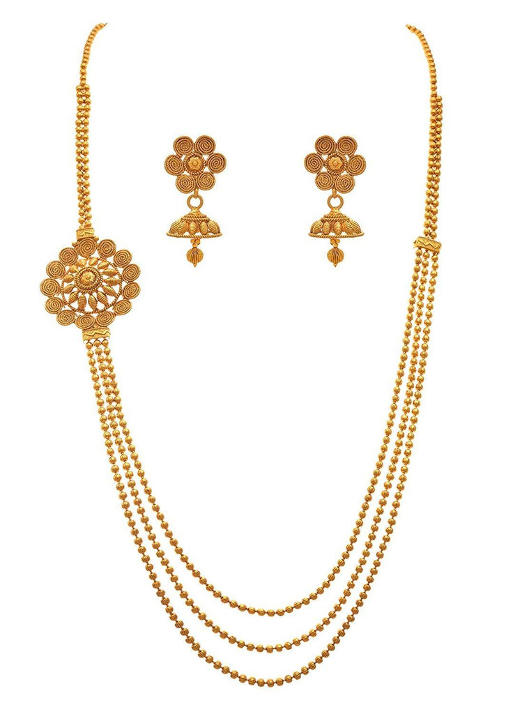JFL - Jewellery for Less Traditional Ethnic 1g Gold Plated Beads Spiral Designer Necklace Set for Women and Girls