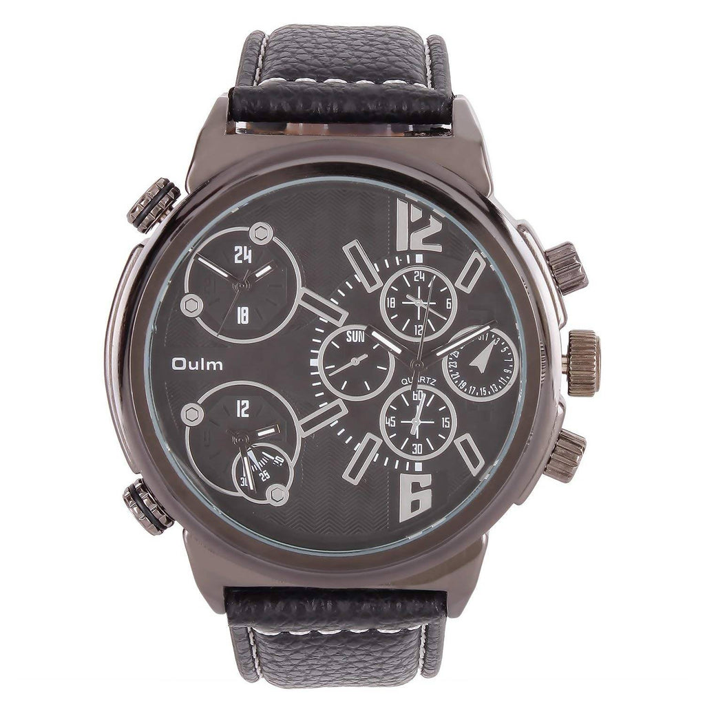 Oulm HP3299GUNBL Multifunction Black Dial Leather Strap Wrist Watch / Casual Watch - For Men's