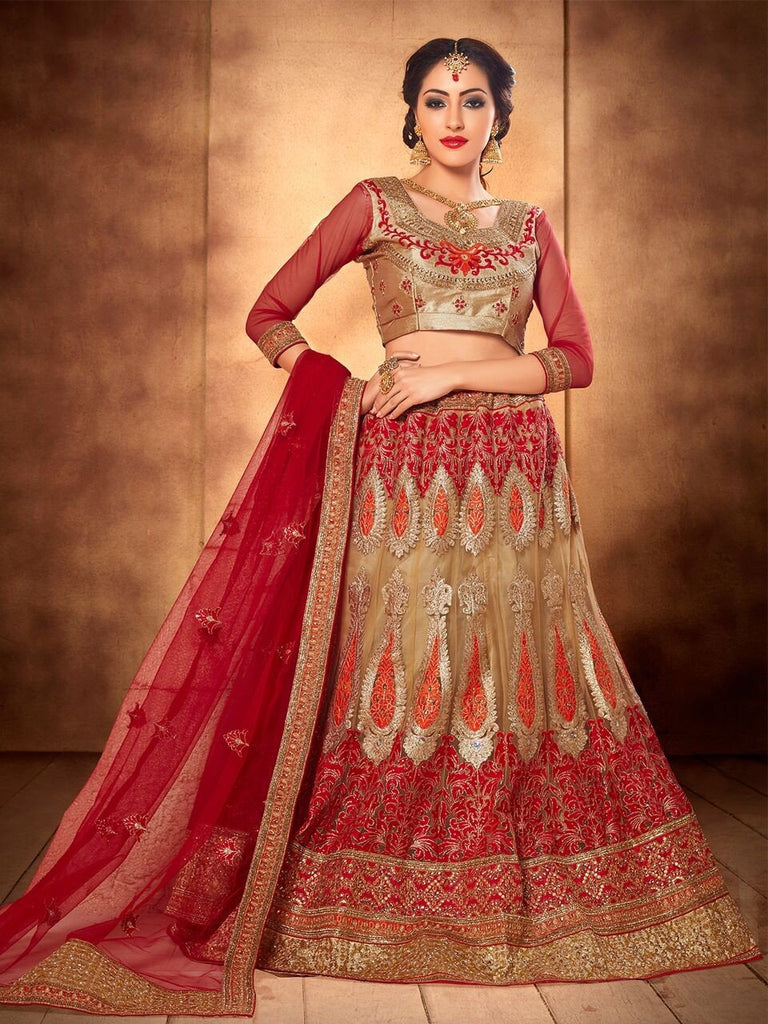 Aasvaa Superb Women's Embroidered Net Lehenga Choli With Un-Stitched Blouse (NMMJA7003C_Beige And Red_Free Size)