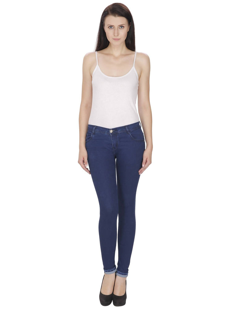 NJ's, Women Skinny Fit, Navy Blue, Silky Denim Jeans