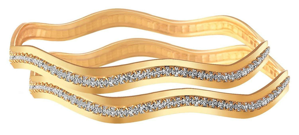 JFL - Traditional Fusion Ethnic One Gram Gold Plated White Austrian Diamond Designer Bangle Set for Women and Girls.