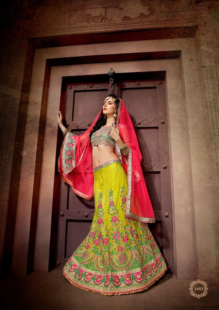 Aasvaa Wonderful Women's Embroidered Net Lehenga Choli With Un-Stitched Blouse (NMRLA3403_Lime Green_Free Size)