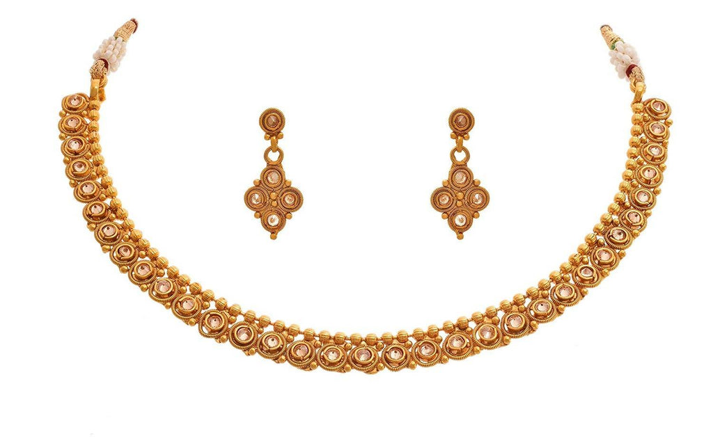 Jfl - Jewellery for Less Traditional & Ethnic One Gram Gold Plated Polki Diamond Designer Necklace Set with Earring for Women