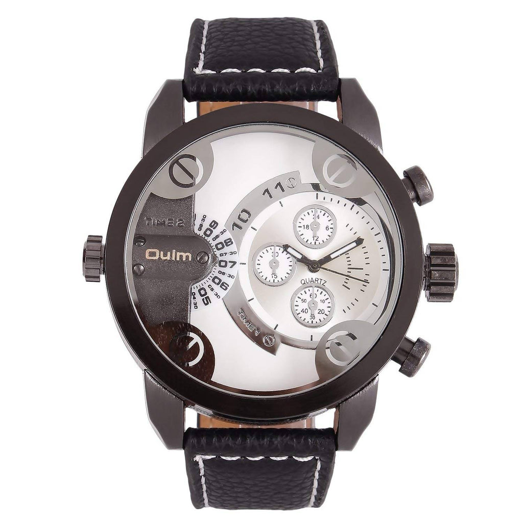 Oulm HP3130GUNWH Multifunction White Dial Leather Strap Wrist Watch / Casual Watch - For Men's