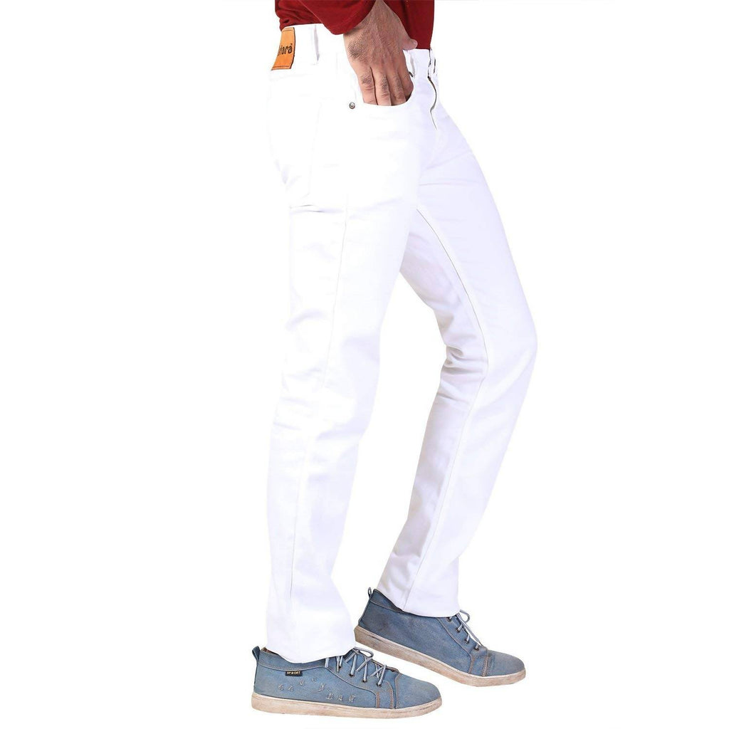 Denim Vistara Men's White Colored Slim Fit Jeans