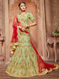 Green Pure Silk A-Line Semi-Stitched Lehenga Choli