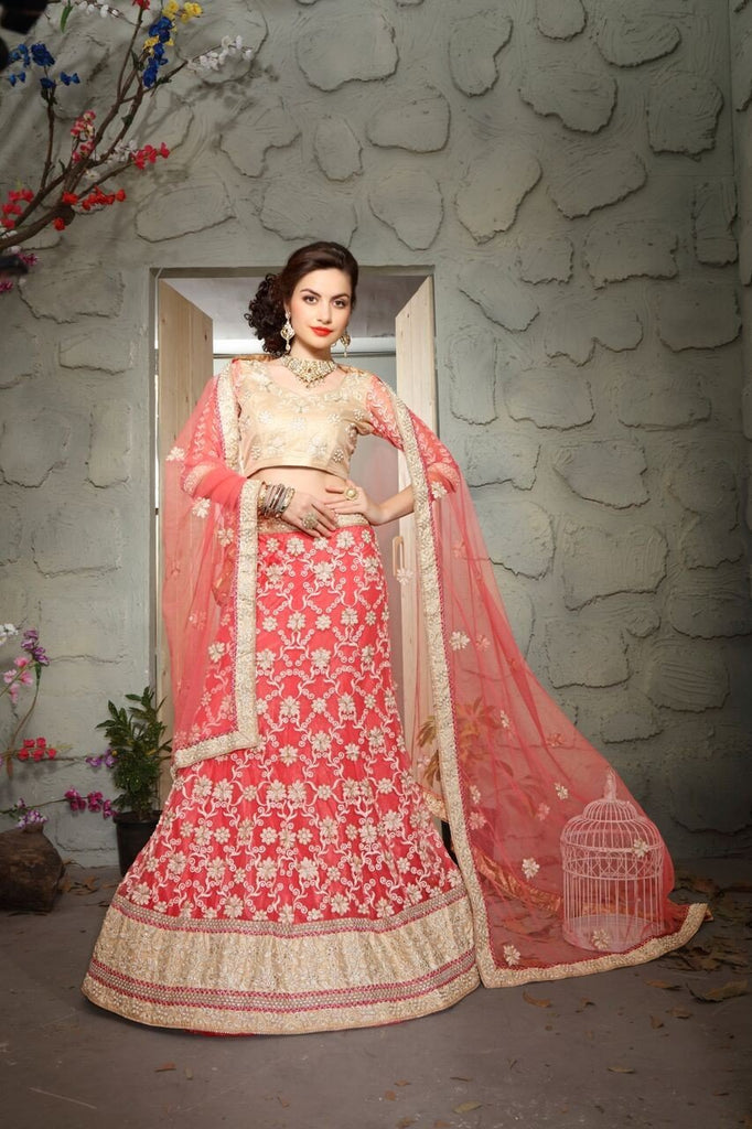 Aasvaa Mind Blowing Women's Embroidered Net Lehenga Choli With Un-Stitched Blouse (MIKLA61C_Palevioletred_Free Size)