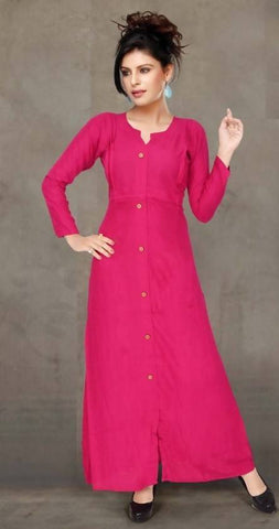 Long Pink Gown Reyon Plain Semi-Stitchedt