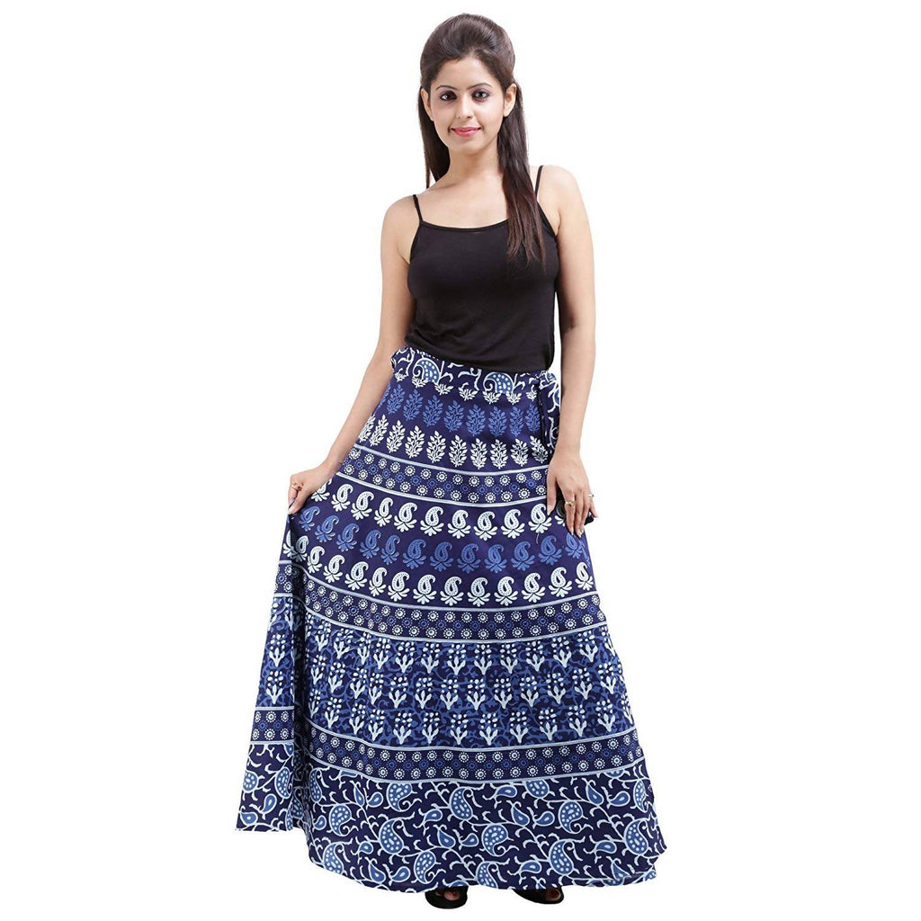 DHRUVI Casual Wear Free Size Floral Print Wrap Around Jaipuri Skirt (Blue & White)