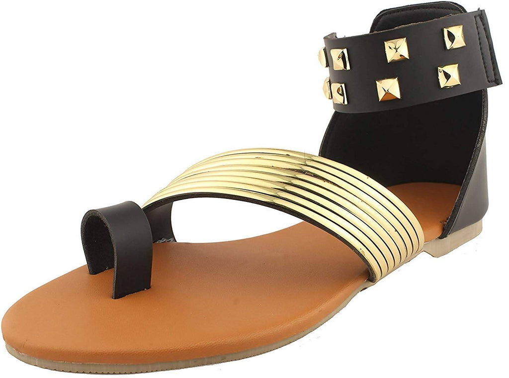 Foot Wagon Black Gold Flats Ankle Straps |Stars at Ankles |Gold Sandals | Flats| Studs |Ladies Sandal |Black|Straps|Women Flats | Ladies Slippers |Girls Slippers |Strap Flats| Chappals