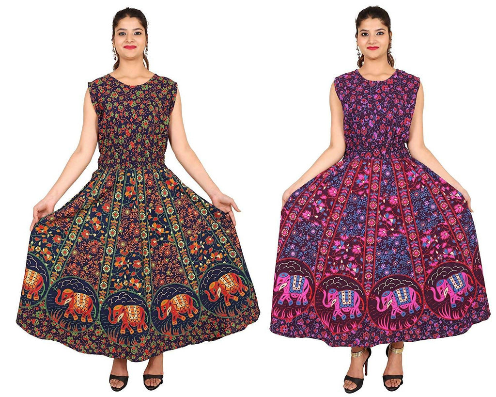 Dhruvi Combo Pack Printed Jaipuri Cotton Long Maxi Euro Dress Flared Long Kurti with Attached Sleeves (Free Size, Size-S-XXL)