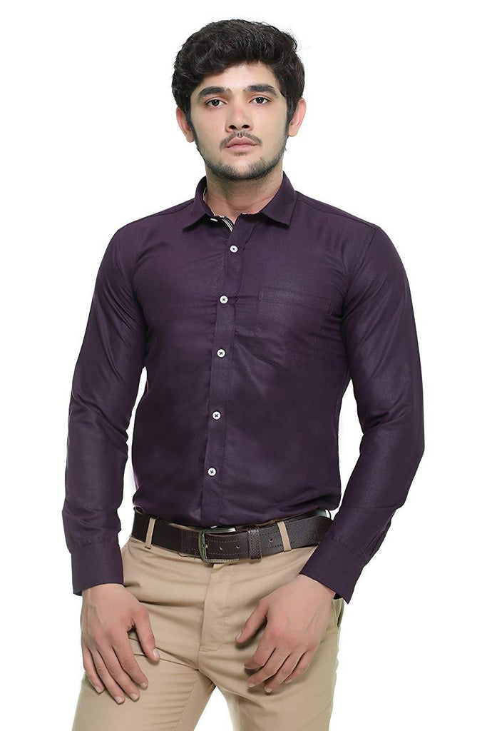 Nimegh Purple Colored Cotton Casual Solid Shirt For Men