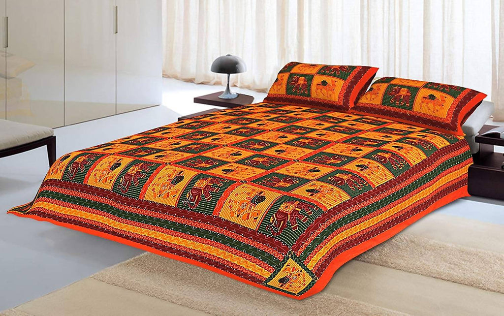 Pneha 200 TC Cotton Double Bedsheet with 2 Pillow Covers - Ethnic, Multi-Color