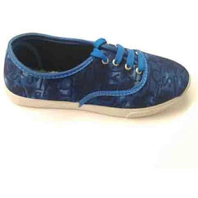 High Look Navy Blue Canvas Shoes for Ladies
