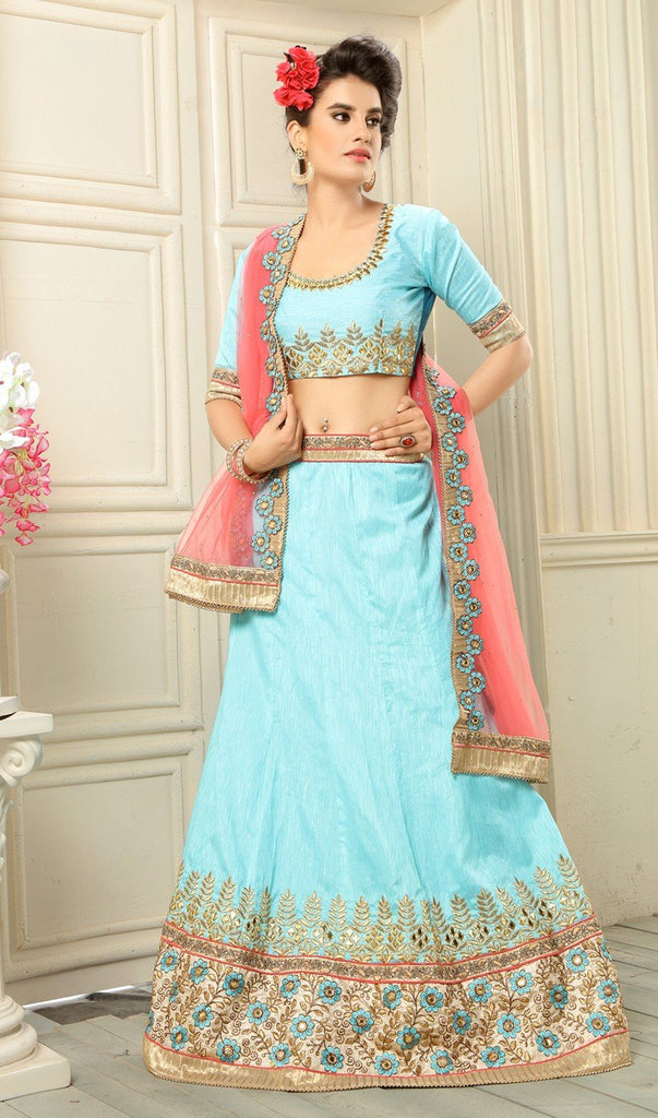 Aasvaa Terrific Women's Embroidered Banglore Silk Lehenga Choli With Un-Stitched Blouse (NMMYA405_Sky Blue_Free Size)