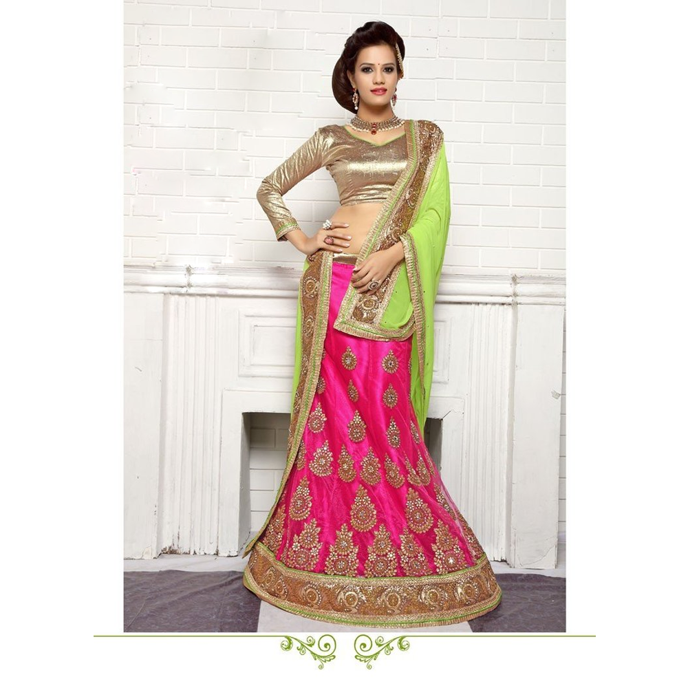 Aasvaa Magnificent Women's Embroidered Net Lehenga Choli With Un-Stitched Blouse (NMMTA1005_Pink_Free Size)