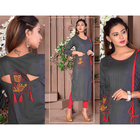Designer Cut Sleeves Long Rayon Kurtis - Adhira 10