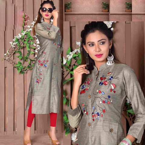 Designer Cut Sleeves Long Rayon Kurtis - Adhira 11