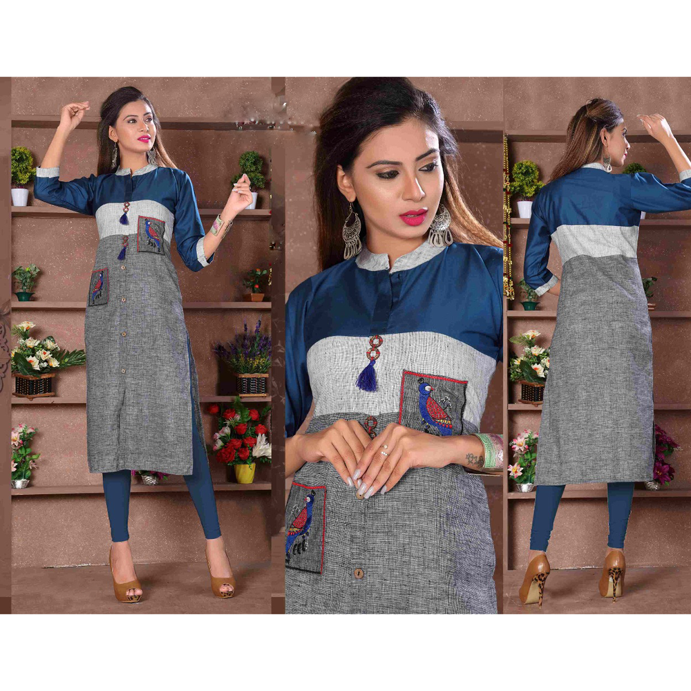 Designer Cut Sleeves Long Rayon Kurtis- Adhira 17