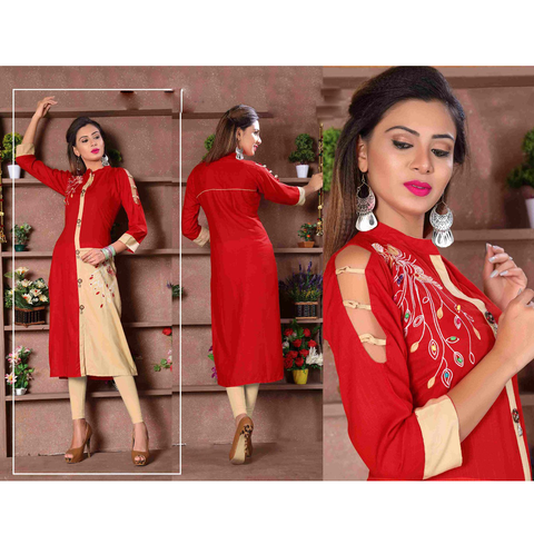 Designer Cut Sleeves Long Rayon Kurtis - Adhira 8