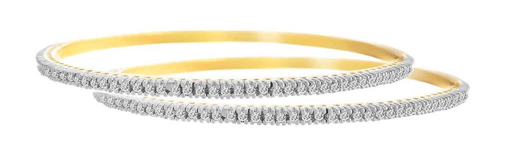 JFL -Traditional Ethnic One Gram Gold Plated Cz American Diamond Designer Bangle Set for Women & Girls.