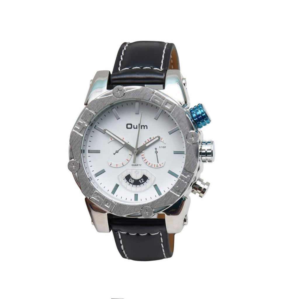 Oulm HP3694WH Analog White Dial Leather Strap Wrist Watch / Casual Watch - For Men's