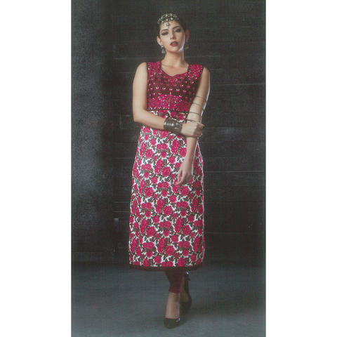 Albeli Bhagalpuri Silk Sleeves-less Long Kurtis
