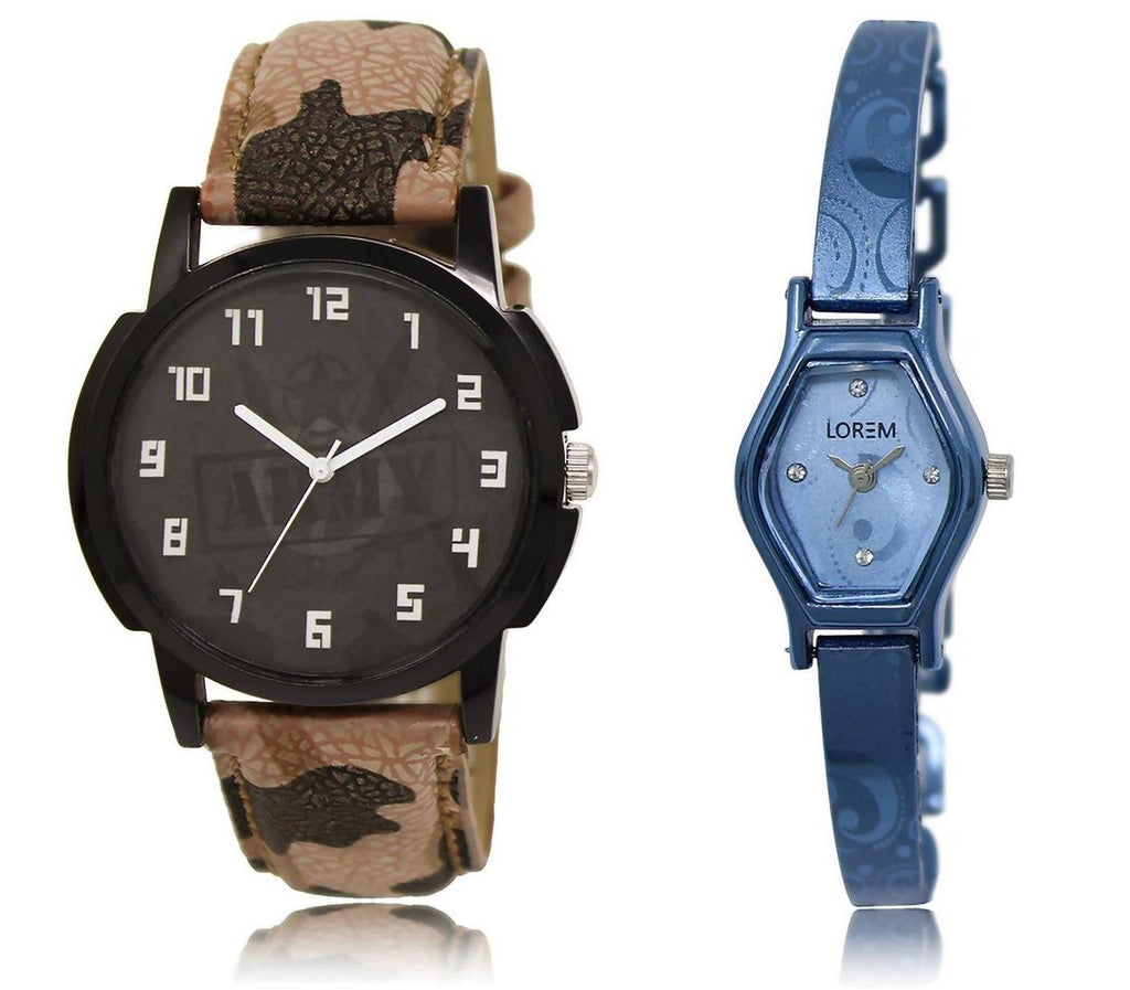 LOREM LR3-218 Stylish Blue & Black Contemporary & Round Boy's & Girl's Metal Bracelet & Leather Watch - For Men & Women