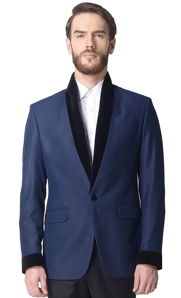 Alvinkelly Solid Blue Color Party Men's Tuxedo Blazer with Velvet On Shawl Lapel