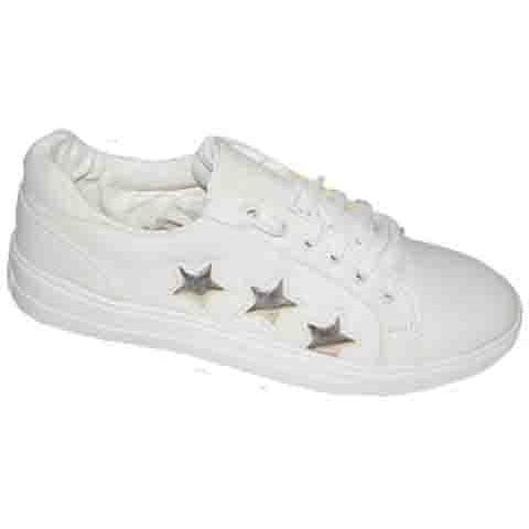 White Sport Star Shoes for Ladies