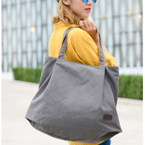 New canvas women hand bag big shoulder art portable large capacity cloth simple girls bags solid color plus lady casual bag