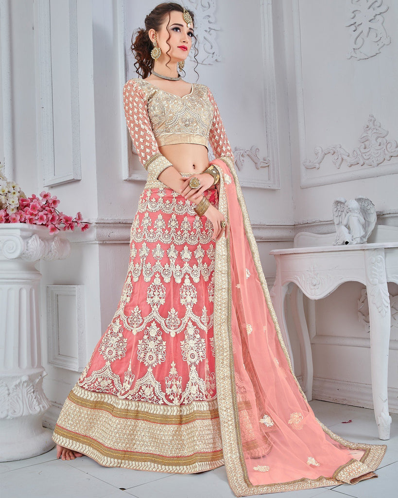 Peach Net A-Line Semi-Stitched Lehenga Choli
