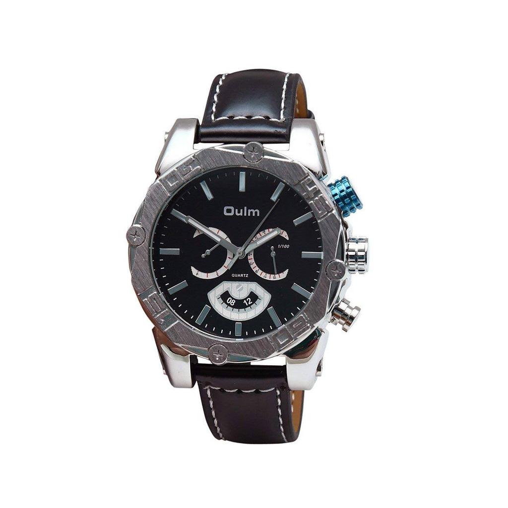 Oulm HP3694BL Analog Black Dial Leather Strap Wrist Watch / Casual Watch - For Men's